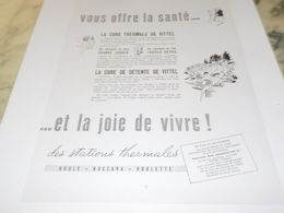 ANCIENNE PUBLICITE VITTEL CURE DE DETENTE  1953 - Pubblicitari