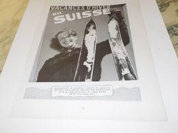 ANCIENNE PUBLICITE VACANCES D HIVER EN SUISSE   1954 - Reclame