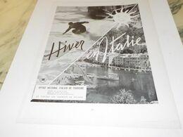 ANCIENNE PUBLICITE L HIVER EN ITALIE 1955 - Reclame