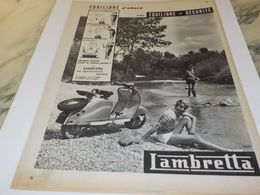 ANCIENNE PUBLICITE EQUILIBRE  SCOOTER LAMBRETTA 1958 - Advertising