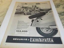 ANCIENNE PUBLICITE VOS VACANCES VOTRE  LAMBRETTA 1958 - Moto