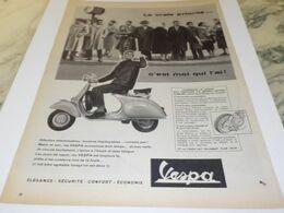 ANCIENNE  PUBLICITE LA VRAIE PRIORITE SCOOTER VESPA 1958 - Advertising