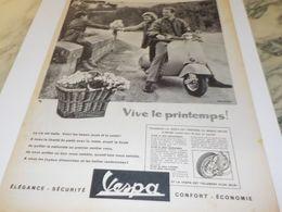 ANCIENNE  PUBLICITE VIVE LE PRINTEMPS  SCOOTER VESPA 1958 - Other