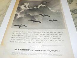 ANCIENNE PUBLICITE L AVION LOCKHEED DU PROGRES 1958 - Advertising