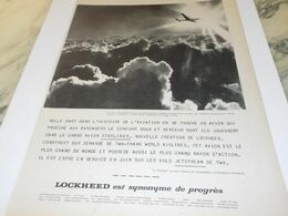 ANCIENNE PUBLICITE L AVION LOCKHEED DU PROGRES 1958 - Advertisements