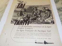 ANCIENNE PUBLICITE PARIS TAHITI TRANSPORT AERIENS TAI 1958 - Advertising