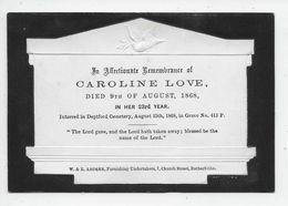 "G 3 - LOVE Caroline - Died 9 August 1868 - ""In Memoriam"" Card - Genealogia"