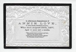 """G 4 - LOVE Annie - Died 24 August 1877 - """"In Memoriam"""" Card - Genealogia"""