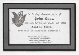 "G 5 - LOVE John - Died 1 October 1888 - ""In Memoriam"" Card - Genealogia"