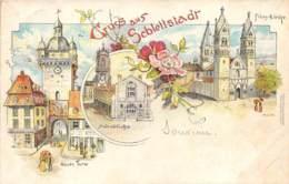 "BAS RHIN  67  SELESTAT - ""GRUSS AUS SCHLETTSTADT"" - PIONNIERE 1896 - CARTE DESSINEE, VUES MULTIPLES - Selestat"
