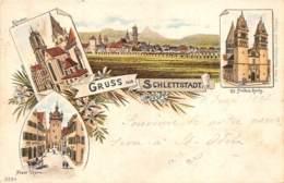 "BAS RHIN  67  SELESTAT - ""GRUSS AUS SCHLETTSTADT"" - PIONNIERE 1897 - CARTE DESSINEE, VUES MULTIPLES - Selestat"