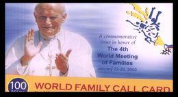 (I 15) Phonecard - Carte De Téléphone - Telecom Philippines - Pope John PAul II / Pape Jean Paul II - Filipinas