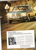 Feuillet De Magazine Mercedes 280 SE 1974 - Cars