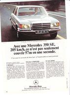 Feuillet De Magazine Mercedes 350 SE 1973 - Cars