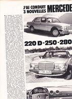 Feuillet De Magazine Mercedes 280 E 1976 - Cars