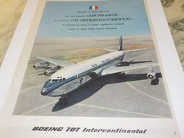 ANCIENNE PUBLICITE AVION BOEING 707 INTERCONTINENTAL  AIR FRANCE   1959 - Advertising