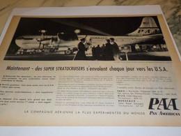 ANCIENNE PUBLICITE LE PRESIDENT DE 1 ER CLASSE PAN AMERICAN   1956 - Advertising