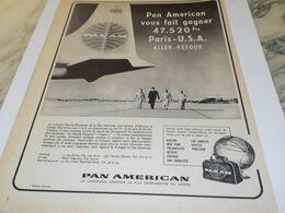ANCIENNE PUBLICITE PARIS USA  PAN AMERICAN  1958 - Advertisements