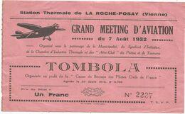 Billet De Tombola N° 2237 , 86 , LA ROCHE POSAY , GRAND MEETING D'AVIATION ,1932 ,frais Fr 1.45 E - Biglietti Della Lotteria