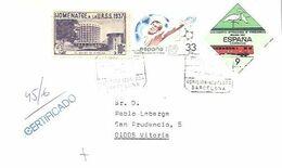 CARTA CERTIFICADA 1985 IGUALADA   VIÑETA URSS 1937 - 1931-Heute: 2. Rep. - ... Juan Carlos I