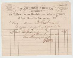 BORDEAUX: MONCORGE Fres Toiles Coton, Calicots Percales Rouenneries / Fact De 1835 - Textilos & Vestidos