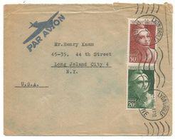GANDON 50FR+20FR LETTRE AVION LYON GROLEE 21.VIII.1946 POUR USA - 1945-54 Marianne De Gandon