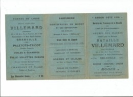RARE HORAIRES 1918 MAREES GRANVILLE  TRAMWAYS MANCHE  PARIS GRANVILLE  VILLEMARD - Spoorweg