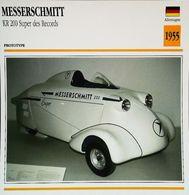 """Motorrad MESSERSCHMITT KR 200 Super 1955 "" Moto Allemande 3 Roues - Collection Fiche Technique Edito-Service S.A. - Voitures"