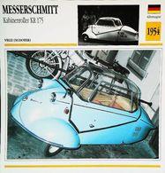"""Motorrad MESSERSCHMITT Kabineneroller KR  1954 "" Moto Allemande 3 Roues - Collection Fiche Technique Edito-Service S.A. - Autos"