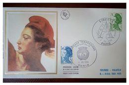 France 1986 1er Jour N° 2423 Et 2425 Marianne Type Liberté De Gandon Double Oblitérations Différentes Paris - 1980-1989