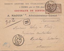 SEUL SUR LETTRE . N° 119. MERSON 40c . PERFORE MAGUIN COUTEAUX. RECOMMANDE ALLEMAGNE - Storia Postale
