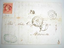 ESPAGNE - LAC De Valence Du 27/04/1862 Pour Marseille 01/05 - Voir Cachets + Taxe Double Trait - Storia Postale