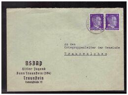 Dt- Reich (008550) Propaganda Dienstbrief NSDAP Hitler-Jugend Bann Traustein 594 Vorgedruckt, Gel Traunstein 17.6.1942 - Interi Postali