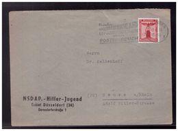 Dt- Reich (008551) Propaganda Dienstbrief NSDAP Hitler-Jugend Gebiet Düsseldorf 34, Vorgedruckt, Gelaufen Solingen 1944 - Interi Postali