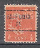USA Precancel Vorausentwertung Preo, Locals Pennsylvania, Falls Creek 723 - United States