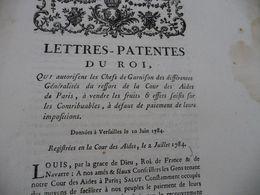 Lettres Patentes Du Roi 10/06/1784 Qui Autorisent Les Chefs De Garnison ... à Vendre Fruits Et Effets Saisis - Decrees & Laws