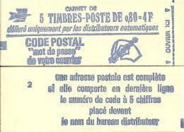 """CARNET 1816-C 1 Marianne De Béquet """"CODE POSTAL"""" Conf. 2 Fermé Parfait état TRES RARE - Carnets"""