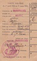 CHARBONNIERES EURE ET LOIR CARTE D ELECTEUR  ANNEE 1934 1935 - Non Classés