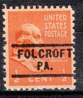 USA Precancel Vorausentwertung Preo, Locals Pennsylvania, Folcroft 729 - United States