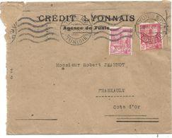 TUNISIE 3FR+1FR PERFORE PERFIN CL LETTRE CREDIT LYONNAIS TUNIS 1947 - Francia