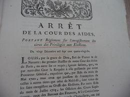 Arrêt De La Cour Des Aides 20/12/1786 Règlement Enregistrement Des Titres Des Privilégiès Aux élections - Decrees & Laws