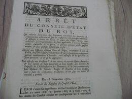 Arrêt Du Conseil D'état Du Roi 28/11/1781 Règlements Concernant Les Amendes... - Decrees & Laws