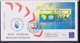 Bosnia I Herzegovina FDC 2000 Sydney Olympic Games Souvenir Sheet (NB**LAR9-168) - Verano 2000: Sydney
