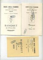 Braine-L'Alleud : 3 Menu Banquet  : Société Royale D'harmonie  ( 16 X 10.5 Cm ) - Menus