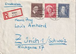 BUND 1952 LETTRE RECOMMANDEE DE WITTEN AVEC CACHET ARRIVEE ZURICH - Cartas