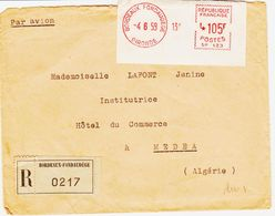France, Debordeaux Fondaudege étiquette MOG , Recomm En 1959 105 F   TB - Marcophilie (Lettres)