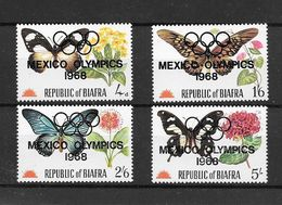 Biafra Série Complète Papillons Surch. JO 68 ** - Verano 1968: México