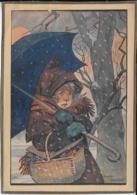 ILLUSTRATION MAURICE TOUSSAINT  Enfant Sous La Neige 11X16 Cm - Old Paper