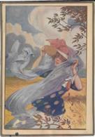 ILLUSTRATION MAURICE TOUSSAINT  Jeune Femme Au Vent  11X16 Cm - Old Paper