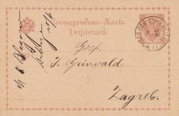 Bosnie Entier Postal Bos Dubica Pour Zagreb 1893 - Bosnië En Herzegovina